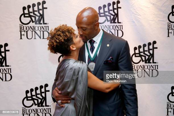 Tracy Mourning and GSLD Honoree Alonzo Mourning attends the 32nd Annual Great Sports Legends Dinner To Benefit The Miami Project/Buoniconti Fund To...