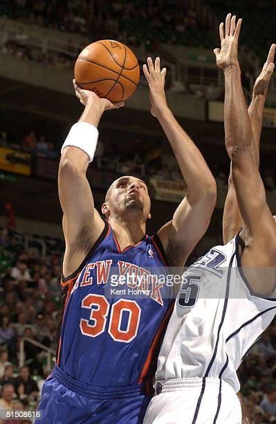 Tracy Murray of the New York Knicks shoots against the Utah Jazz on October 19 2004 at the Delta Center in Salt Lake City Utah NOTE TO USER User...