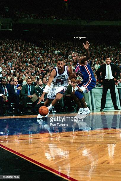 Tracy Murray of the Toronto Raptors drives against the New Jersey Nets on November 3 1995 at the Toronto SkyDome on November 3 1995 in Toronto Canada...