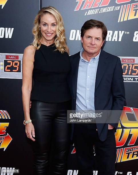 Tracy Pollan and Michael J Fox attend 'Back To The Future' New York special anniversary screening at AMC Loews Lincoln Square on October 21 2015 in...