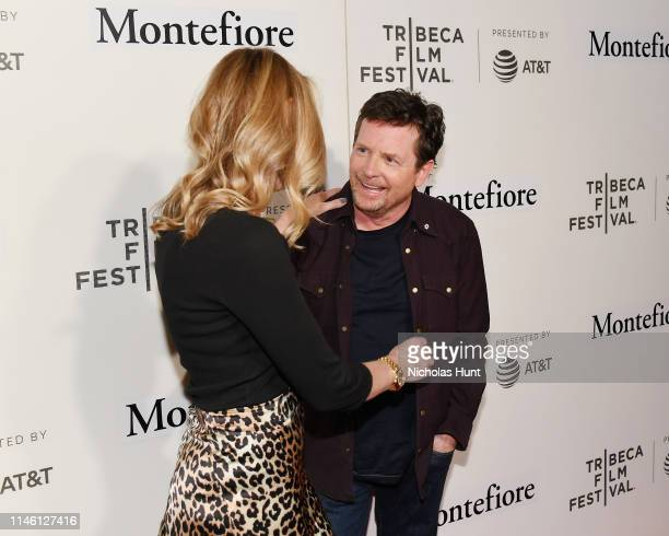 Tracy Pollan and Michael J Fox attend red carpet for the Tribeca Talks Storytellers 2019 Tribeca Film Festival at BMCC Tribeca PAC on April 30 2019...