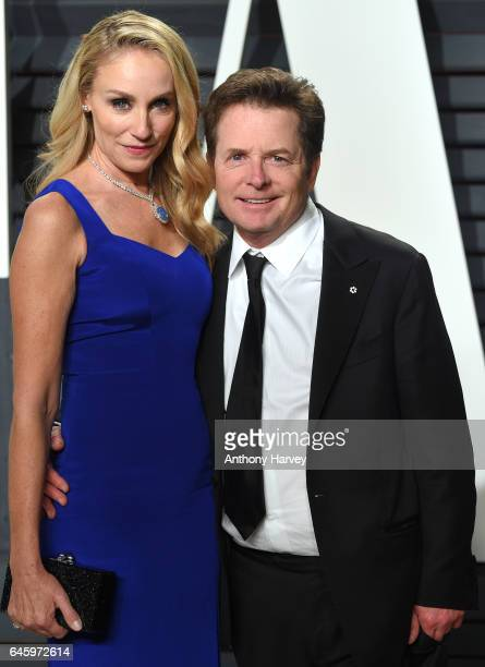 Tracy Pollan and Michael J Fox attend the 2017 Vanity Fair Oscar Party hosted by Graydon Carter at Wallis Annenberg Center for the Performing Arts on...