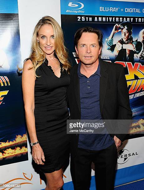 Tracy Pollan and Michael J Fox attend the 'Back To The Future' 25th anniversary Trilogy BluRay release celebration>> at Gustavino's on October 25...