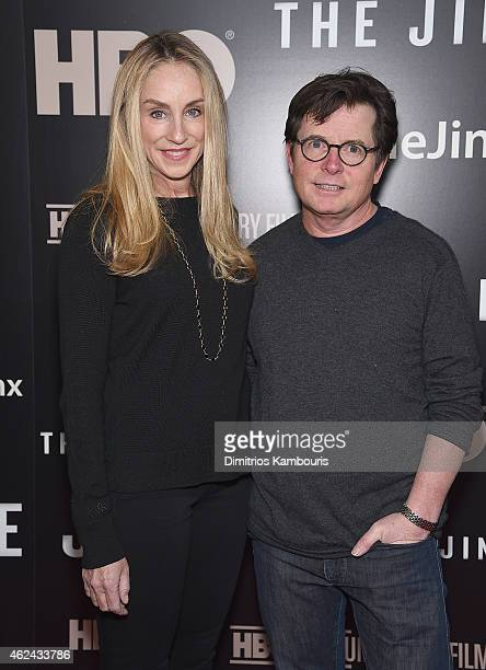 Tracy Pollan and Michael J Fox attend The Jinx New York Premiere at Time Warner Center on January 28 2015 in New York City