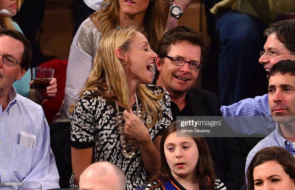 Tracy Pollan and Michael J. Fox attend the Milwaukee Bucks vs New York Knicks game at Madison Square Garden on April 5, 2013 in New York City.