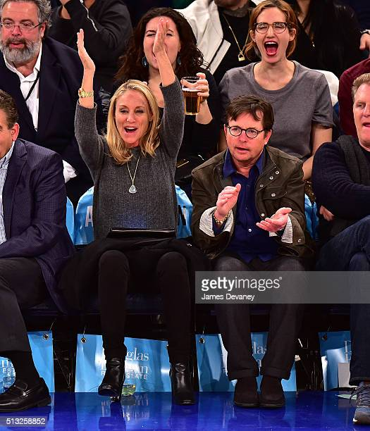 Tracy Pollan and Michael J Fox attend the Portland Trail Blazers vs New York Knicks game at Madison Square Garden on March 1 2016 in New York City