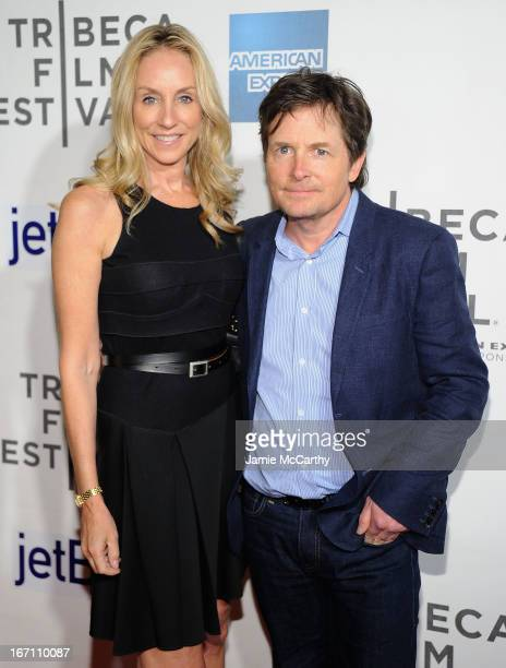Tracy Pollan and Michael J Fox attend the screening of Trust Me during the 2013 Tribeca Film Festival at BMCC Tribeca PAC on April 20 2013 in New...