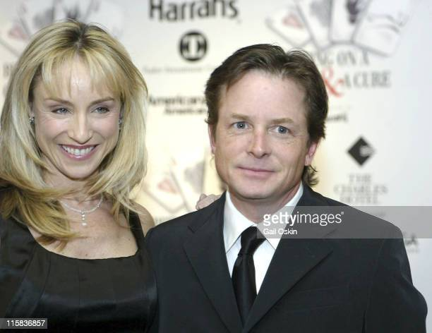 Tracy Pollan and Michael J Fox meet the press before joining former Boston Bruin Cam Neely during the 2nd Annual Monte Carlo Weekend at the Charles...