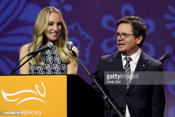 Tracy Pollan and Michael J Fox speak on stage at A Funny Thing Happened On The Way To Cure Parkinson's benefitting The Michael J Fox Foundation at...