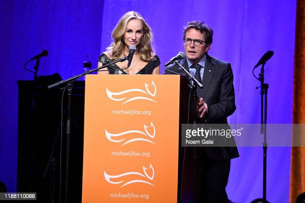 Tracy Pollan and Michael J Fox speak on stage at A Funny Thing Happened On The Way To Cure Parkinson's benefitting The Michael J Fox Foundation on...
