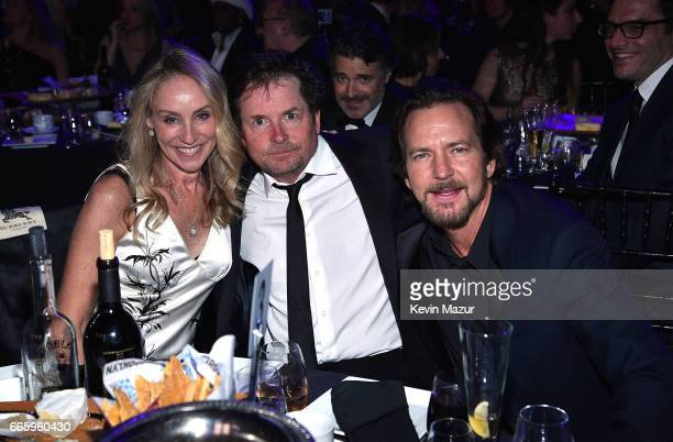 Tracy Pollan Michael J Fox and Eddie Vedder attend 32nd Annual Rock Roll Hall Of Fame Induction Ceremony at Barclays Center on April 7 2017 in New...