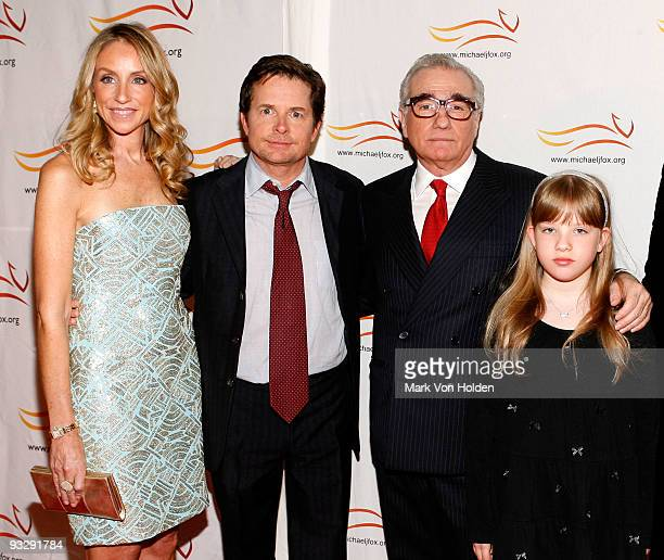 Tracy Pollan Michael J Fox Martin Scorsese and Francesca Scorsese attend the 'A Funny Thing Happened on the Way to Cure Parkinson's' benefit at The...