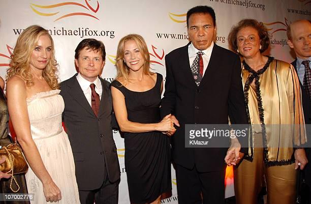 Tracy Pollan, Michael J. Fox, Sheryl Crow, Muhammad Ali and Lonnie Ali