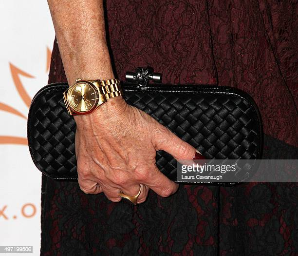 Tracy Pollan purse and Rolex watch detail attends 2015 A Funny Thing Happened On The Way To Cure Parkinson's at The Waldorf=Astoria on November 14...