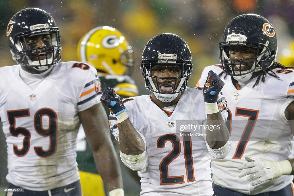 Tracy Porter #21 of the Chicago Bears reacts after intercepting the football in the fourth quarter against the Green Bay Packers at Lambeau Field on November 26, 2015 in Green Bay, Wisconsin. The Chicago Bears defeated the Green Bay Packers 17 to 13.