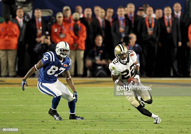 Tracy Porter of the New Orleans Saints returns a interception for touchdown against of the Indianapolis Colts during Super Bowl XLIV on February 7...