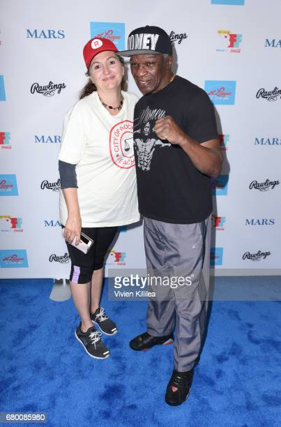 Tracy Reiner and Floyd Mayweather Sr attend A League of Their Own 25th Anniversary Game at the 3rd Annual Bentonville Film Festival on May 7 2017 in...