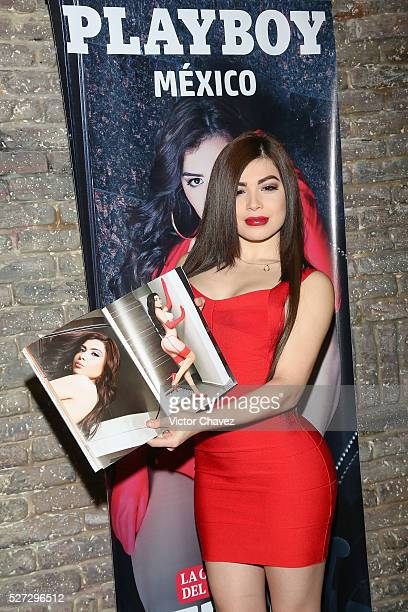 Tracy Saenz attends the Playboy Mexico magazine may 2016 issue photocall at Fiebre de Malta on May 2 2016 in Mexico City Mexico