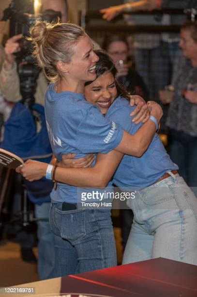 Tracy Spiridakos and Lisseth Chavez of Chicago PD participate in the Paddle Battle to benefit the 100 Club of Chicago at SPiN Chicago on January 26...