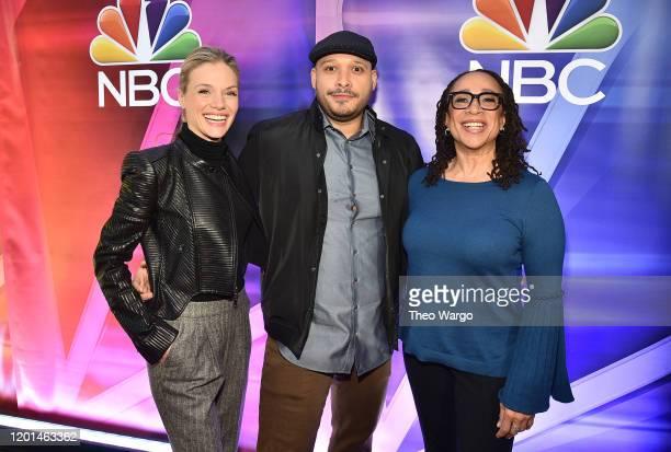 Tracy Spiridakos, Joe Minoso and S. Epatha Merkerson attend the NBC Midseason New York Press Junket at Four Seasons Hotel New York on January 23,...