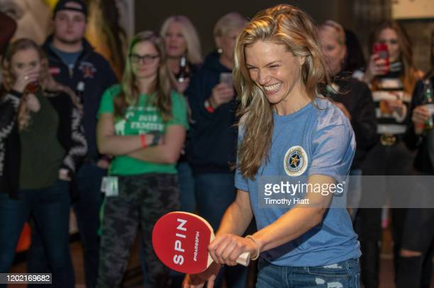 Tracy Spiridakos of Chicago PD participate in the Paddle Battle to benefit the 100 Club of Chicago at SPiN Chicago on January 26 2020 in Chicago...