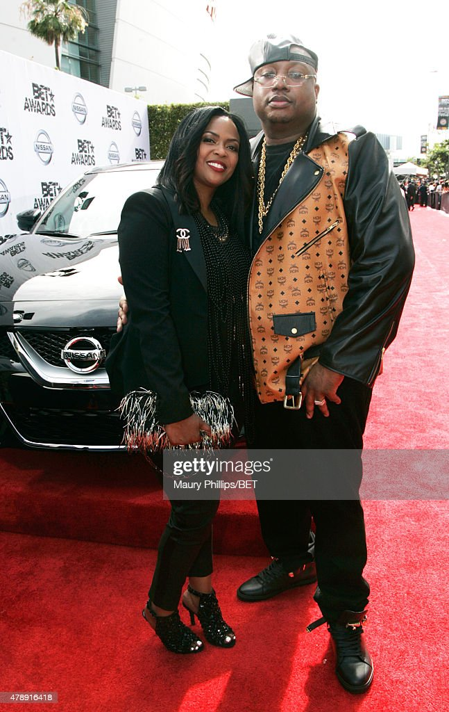 Tracy Steven (L) and rapper E-40 attend the Nissan red carpet during the 2015 BET Awards at the Microsoft Theater on June 28, 2015 in Los Angeles, California.