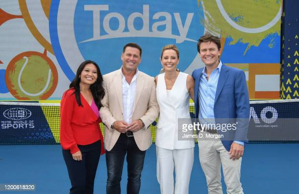 Tracy Vo Karl Stefanovic Allison Langdon and Alex Cullen on the set of Channel Nine's Today show at the 2020 Australian Open at Melbourne Park on...