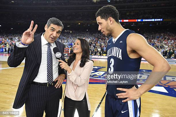 Tracy Wolfs interviews Jay Wright and Josh Hart of the Villanova Wildcats during the NCAA Men's Final Four Semifinal Championship game against the...