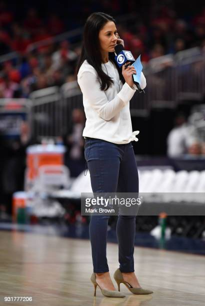 Tracy Wolfson from CBS in action during the final game of the 2018 AAC Basketball Championship at Amway Center on March 11 2018 in Orlando Florida