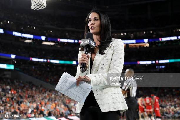Tracy Wolfson speaks prior to the second half between the Virginia Cavaliers and the Texas Tech Red Raiders during the 2019 NCAA men's Final Four...