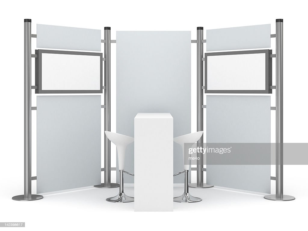 Trade Advertising Stand with two lcd displays : Stock Photo
