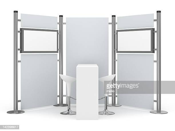 trade advertising stand with two lcd displays - tradeshow stock pictures, royalty-free photos & images