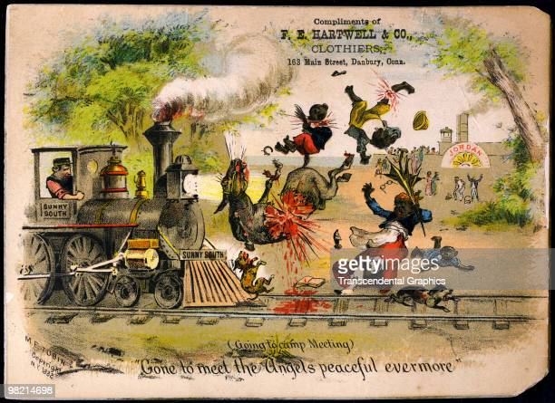 Trade Card depicting cruelty and violence in the treatment of African Americans by Southerners shortly after the Civil War ca1882