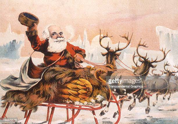 Trade card depicts a Santa Claus figure as he waves from a birdthemed sleigh pulled by reindeer as they return to the North Pole after delivering all...