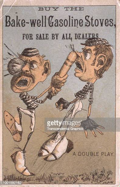 Trade card featuring a cartoon illustration entitled 'A Double Play' of baseball player as he simultaneously is hit in the face with a ball and hits...