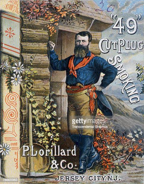 Trade card for '49 Cut Plug' tobacco produced by New Jersey-based P. Lorillard & Co. Depicts a '49er,' or California gold prospector, outside his...