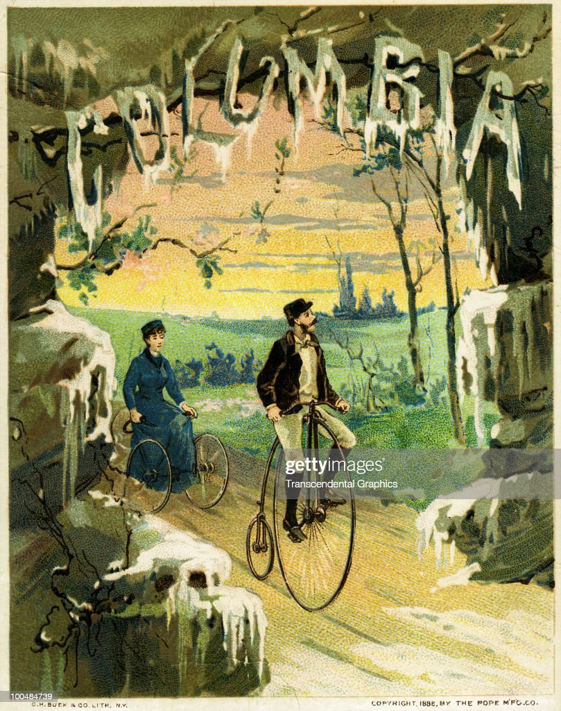 Trade card for Columbia-brand bicycles and tricycles shows a a couple as they cycle through a winter scene, 1888.