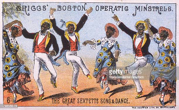 Trade card for entertainment group Briggs' Boston Operatic Minstrels which portrays six African American men and women as they dance published by The...