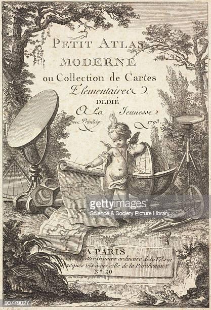 Trade card for �Petit Atlas Moderne ou Collection de Cartes� by the cartographer Jean Lattre 20 rue st Jaques Paris France A cherub in a rural...