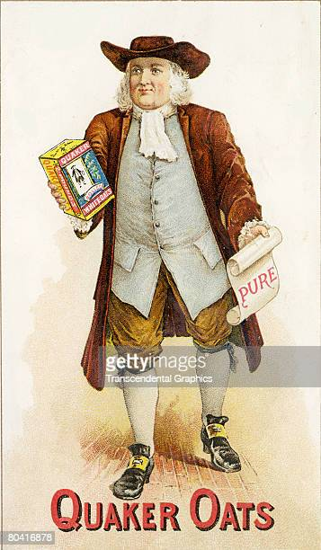 Trade card for Quaker Oats brand oatmeal cereal features an illustration of a man who carries in one hand a container of the cereal and in the other...