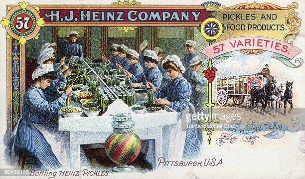 Trade card for the HJ Heinz Company features an illustratiopn of a group of women in matching clothing and bonnets as they bottle pickles in a...