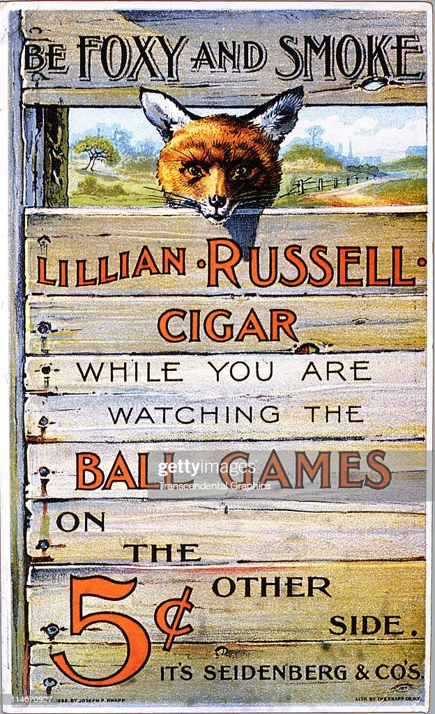 Trade card for the Lillian Russell Cigar, issued by a New York company Joseph P. Knapp, with a baseball theme, as the fox looks through the fence at a baseball game, 1898.