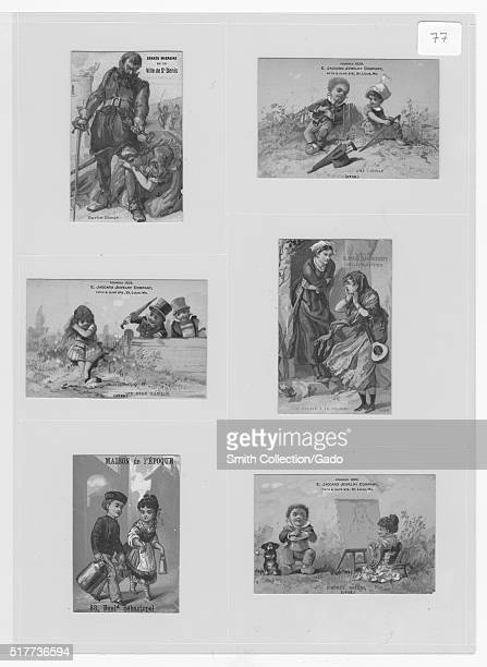 Trade cards depicting courtship a woman painting a portrait Blue Beard and his wife and the story of the Cicada and the Ant personified 1883 From the...
