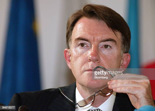 Trade Commissioner Peter Mandelson listens at a press conference at the EU Delegation's headquarters in Beijing China Thursday May 8 2006 European...