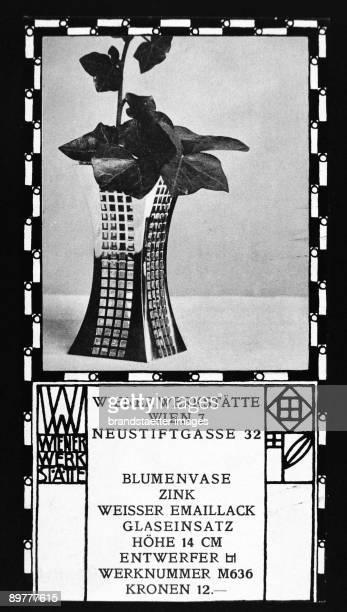 Trade description of goods of the Wiener Werkstaette 'Vase of flowers / zinc / white enamel / glass application / height 14 cm / Designer JH / works...