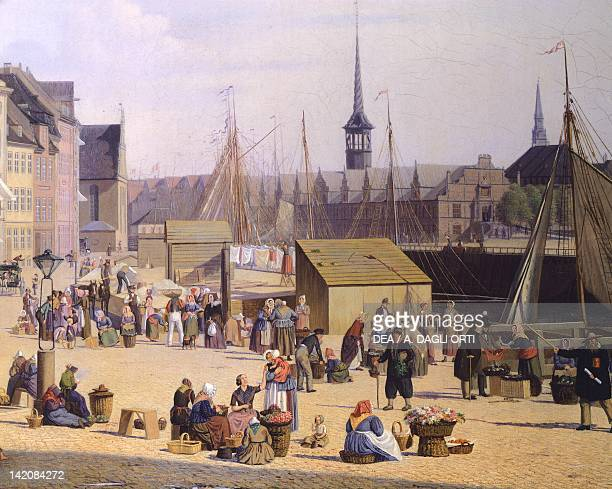 Trade life at the port of Copenaghen by Sally Henriques Denmark 19th Century Detail