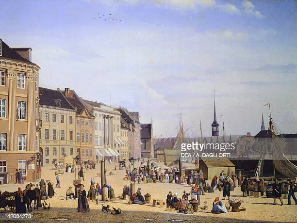 Trade life at the port of Copenaghen by Sally Henriques Denmark 19th Century