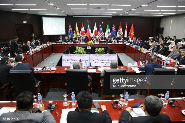 Trade ministers and delegates from the remaining members of the Trans Pacific Partnership attend the TPP Ministerial Meeting ahead of the AsiaPacific...