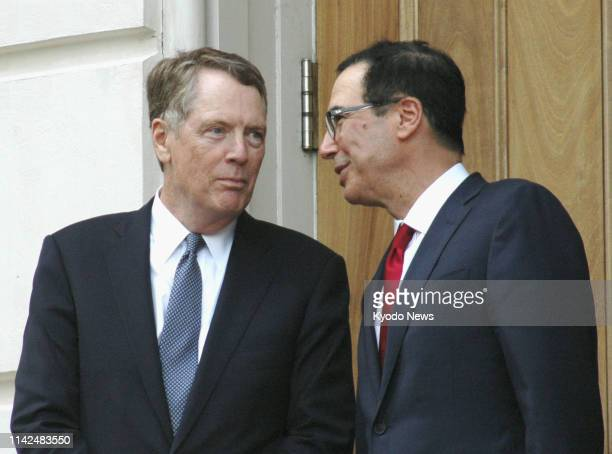 US Trade Representative Robert Lighthizer and Treasury Secretary Steven Mnuchin are pictured in Washington on May 9 2019 The United States and China...