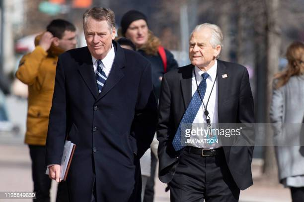 US Trade Representative Robert Lighthizer and White House Director of Trade and Manufacturing Policy Peter Navarro arrive at the Office of the US...